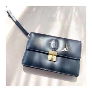 CARTIER Lock & Key Leather Wristlet Clutch Bag